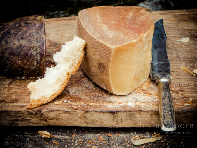 Slice of cheese on a rough wooden cutting board with ornated knife and salami - ©Silvia Ganora Photography - All Rights Reserved