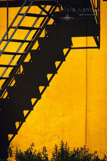 Iron staircase casting a shadow on a yellow wall- ©Silvia Ganora Photography - All Rights Reserved