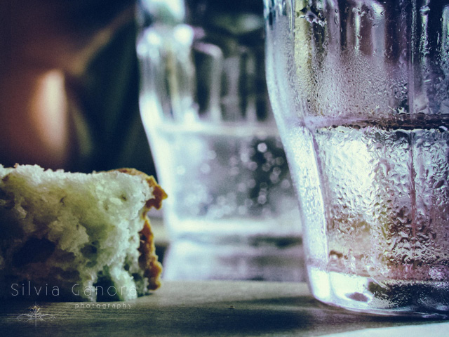 Glasses with water and piece of bread with crumbles- ©Silvia Ganora Photography - All Rights Reserved