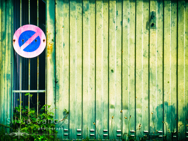 Old garage door with no parking street sign on it and weeds- ©Silvia Ganora Photography - All Rights Reserved