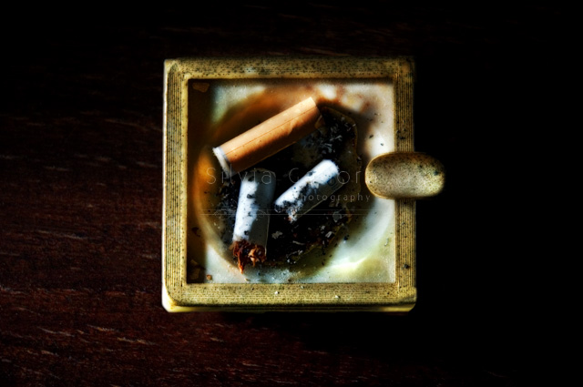 Closeup shot of cigarette stubs in a square ashtray- ©Silvia Ganora Photography - All Rights Reserved