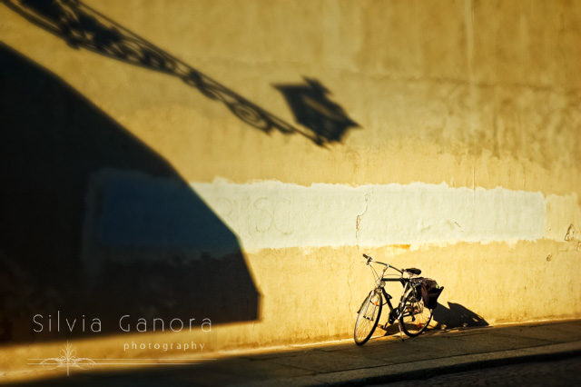 Bicycle on sidewalk with lamp shadow on wall- ©Silvia Ganora Photography - All Rights Reserved