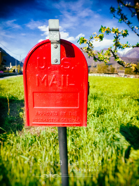 Red mailbox with meadow in the background and sunny day- ©Silvia Ganora Photography - All Rights Reserved