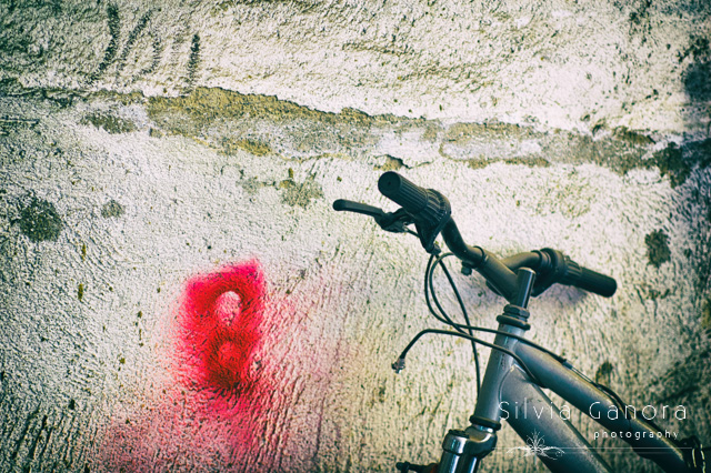 Abandoned bicycle handlebar against grungy wall with red sprayed paint- ©Silvia Ganora Photography - All Rights Reserved