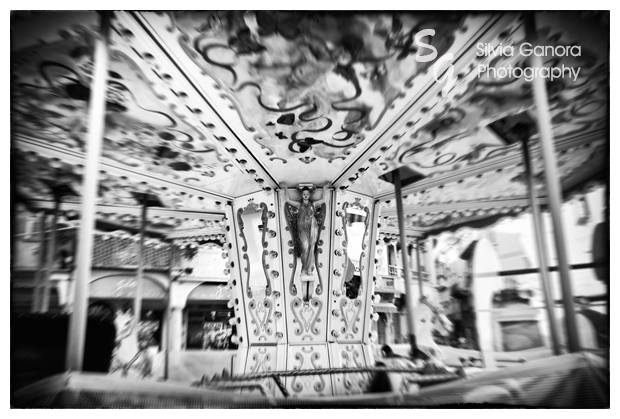 Black and white shot of a carousel - Copyright Silvia Ganora