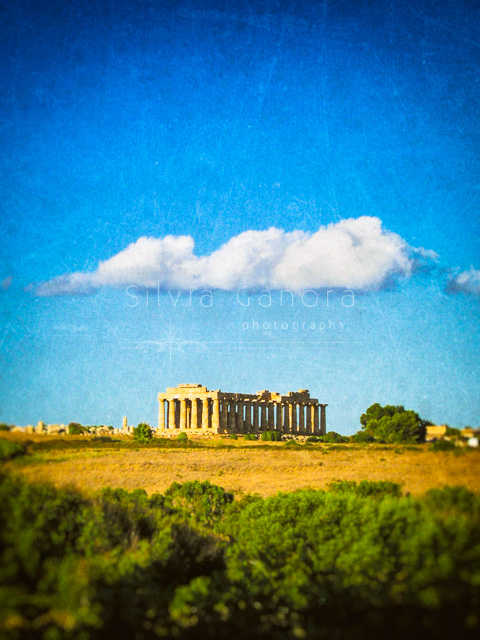 Ancient greek temple with cloud in blue sky - ©Silvia Ganora Photography - All Rights Reserved