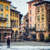 Italian square with snow